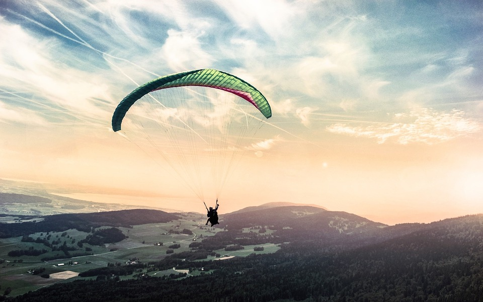 oplevelser, udsigt, faldskærm, mand, oplevelse, paraglidning, svævefly, himmel