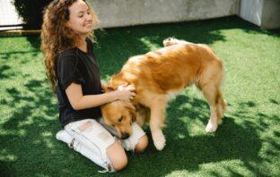 Kvinde og hund udenfor