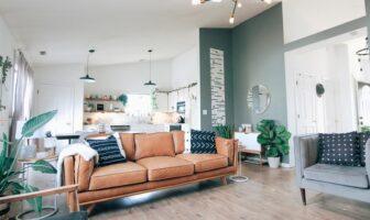 indretning med brun sofa
